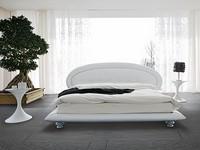 ILE, Bed Upholstered with leather, for double bedrooms