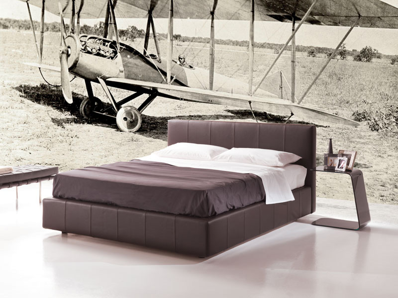 Gamma, bed with storage unit, padded bed with removable upholstery, modern bed Hotel bedroom