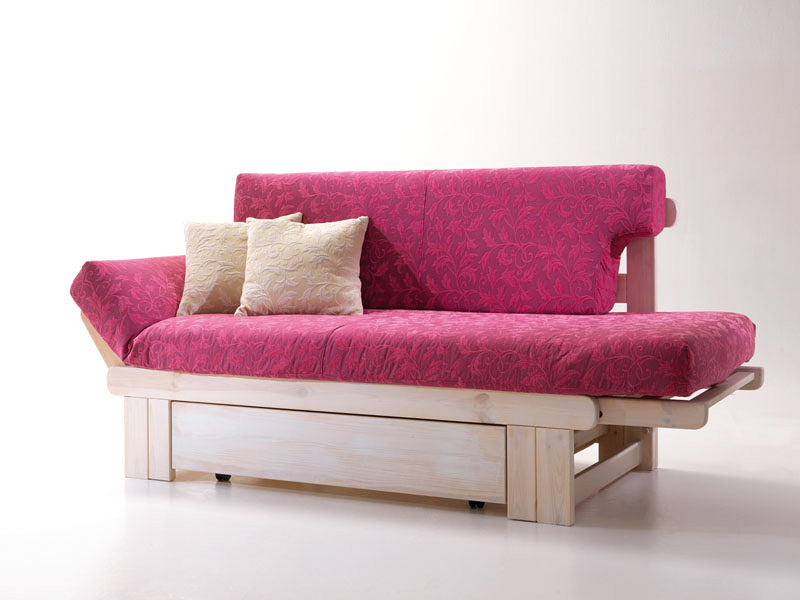 Rustic sofa bed, wooden, with container | IDFdesign