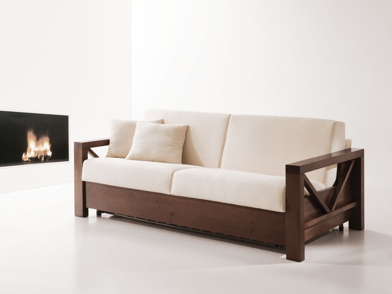 Wooden Sofa Bed Convertible For Living Room Idfdesign