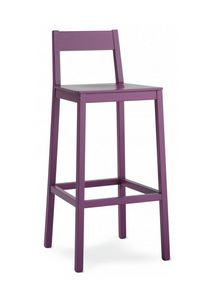 M23, Barstool made entirely of wood, in a modern style, for contract use