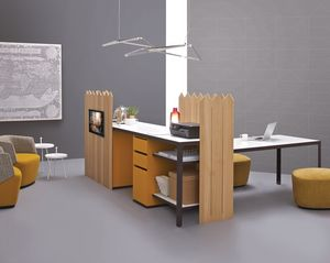 Isola Buffet&Siepe, Dining table with kitchen, with fence