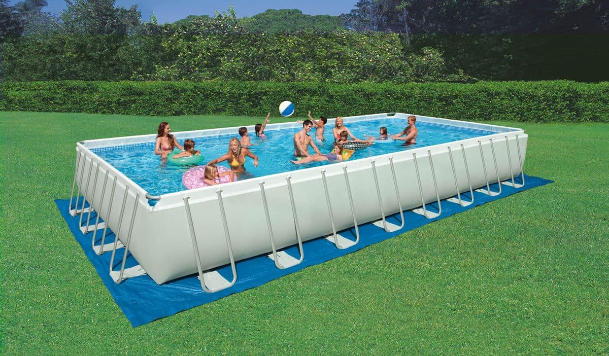 Ground swimming pool rectangular outdoor idfdesign for Pool aufblasbar rechteckig