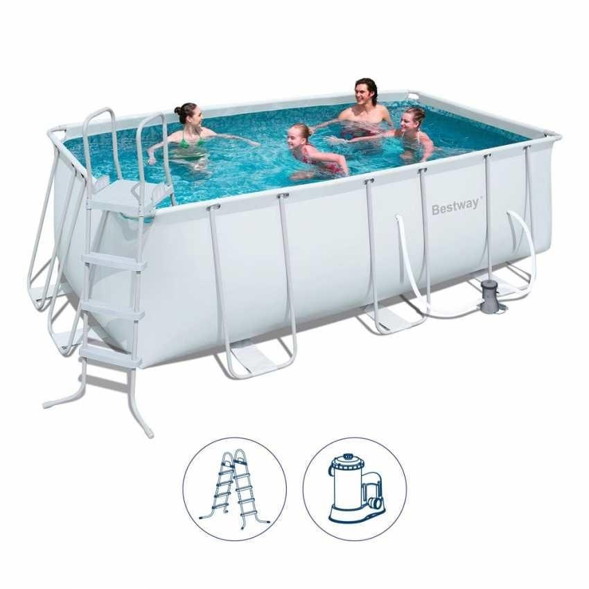 Perfect Above Ground Pool Bestway 56456 Rectangular Power Frame 412x201x122cm    56456, Above Ground Rectangular