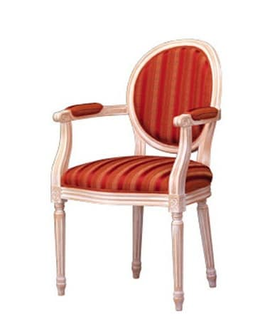 1053, Classic chair with armrests, padded, for living room