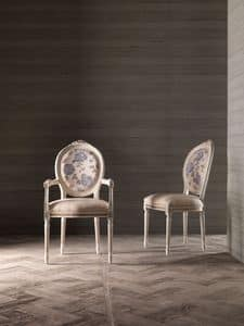 CARLA' armchair 8662A, Chair with armrests, medallion backrest , for naval furniture