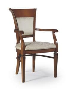 Firenze chair with arms, Padded chair for living rooms, classic style