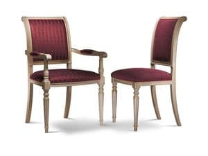 GABRY chair with armrests 8257A, Chair with beech wood armrests, padded, various finishes