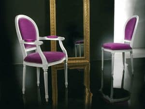 Picture of OPERA chair with armrests 8253A, hand worked upholstered wooden seats