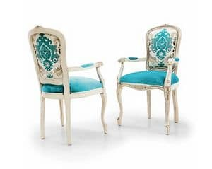 PEGASO Art. 4604, Chair with armrests, traditional style, in fabric Raphael