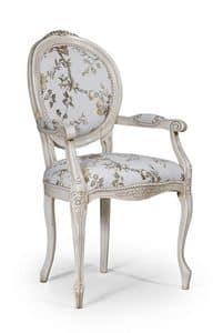 Rossella chair with arms, Classic style armchair, for dining room