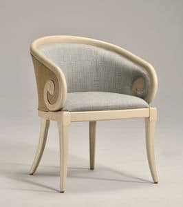 Picture of TOFEE armchair (with cane) 8216A, chairs with arms and seat in leahter, eco-leaher, fabric