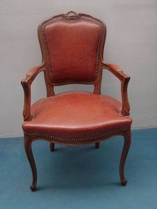 Art. 122, Leather chair with armrests, in Louis XV style