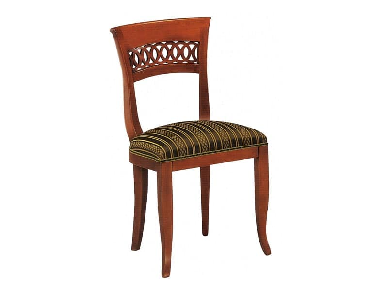 378, Wooden chair with wrought wood backrest
