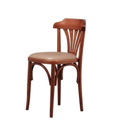 B03, Beech chair with padded seat, for wine bar