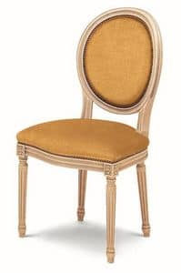606, Padded chair made of beech, oval backrest