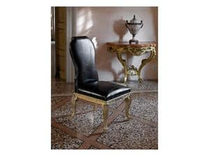 ALICE, Hand-carved chair, upholstered in crocodile leather