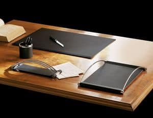 Master, Desk accessories in imitation leather with steel finishes