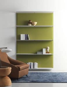 Blade, Modular shelving system, with sound-absorbing panels