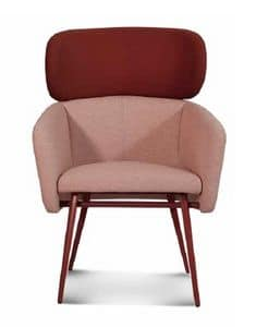 ART. BALÙ XL Met, Armchair with metal base, for waiting areas