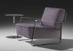 Fujiyama armchair, Armchair with steel base, custom coating