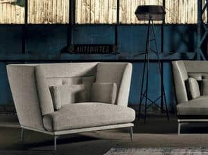 GISELLE 2, Armchair with removable fabric, large seat