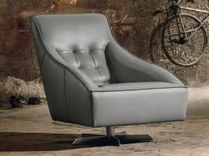 GUSCIO, Armchair covered in leather, very stuffed