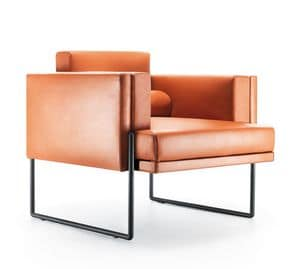 Quid armchair, Essential design chair, with metal legs