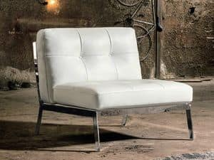 VIOLETTA, Armchair without armrests, quilted leather