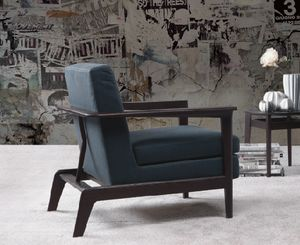 Ginger, Design armchair upholstered with wooden frame