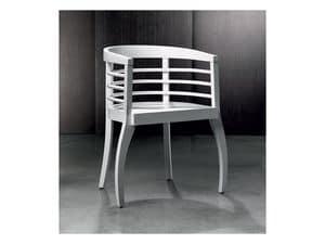 VIENNA, Armchair in beech wood, wraparound backrest