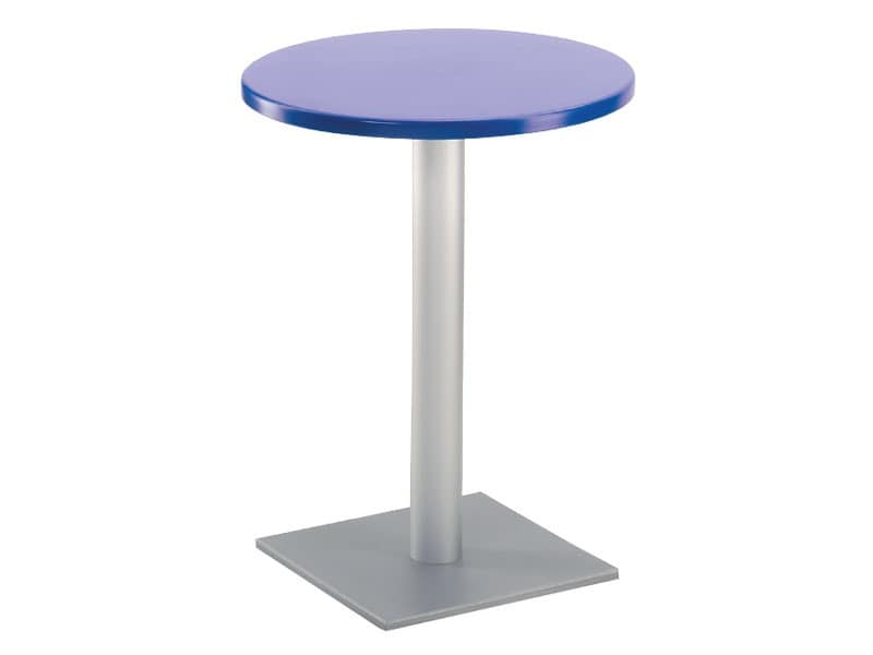 Table Ø 60 cod. 04/BQ, Bar table with square base, polymer top