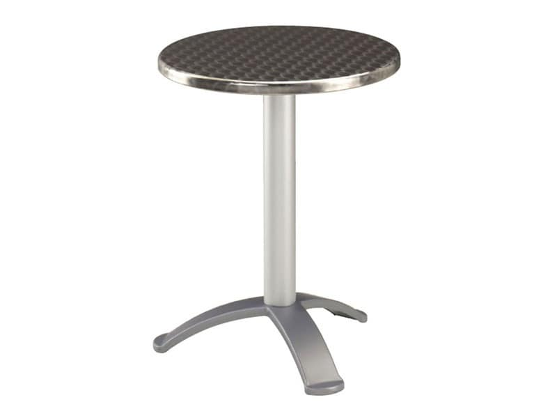 Table Ø 60 cod. 04.IF/BG3, Stainless steel coffee table for bars, base with 3 feet