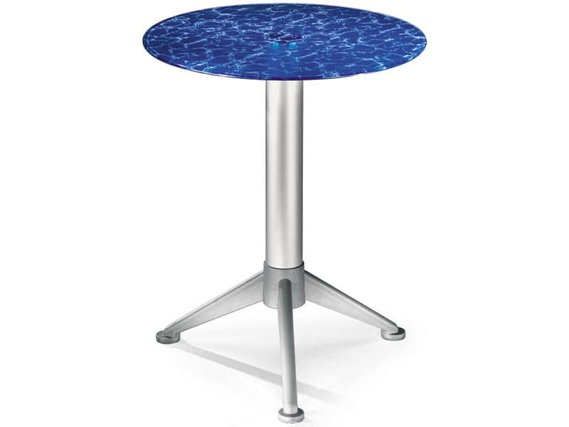 Table Ø 60 cod. 05/BG3A, Coffee table with tempered colored glass