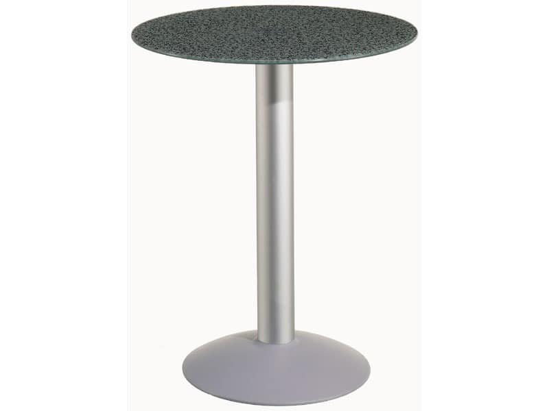 Table Ø 60 cod. 05/BTV, Round table with aluminum base, for garden and pool