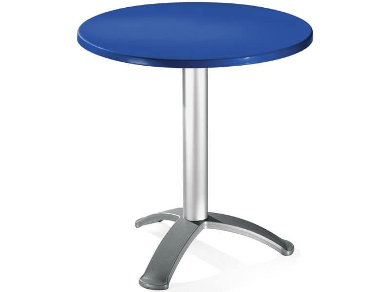 Table Ø 72 cod. 03/BG3, Round table with anodized aluminum column