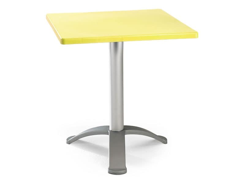 Table 60x60 cod. 20/BG3, Square table with anodized aluminum base