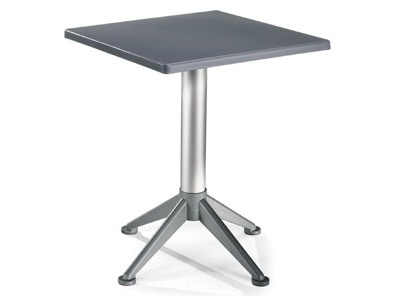 Table 60x60 cod. 20/BG4A, Square table with 4-foot aluminum base