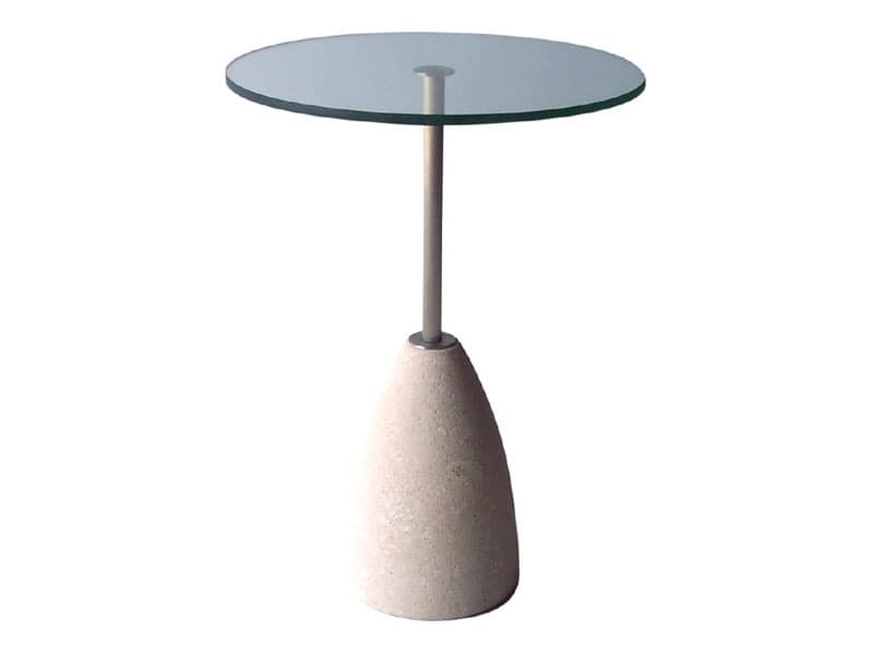 Element 2, Round table made of stone and glass, for bars and pubs