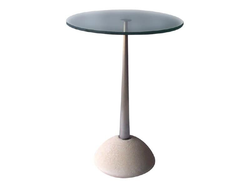 Memo, Round table made of stone and glass, for bars and pubs