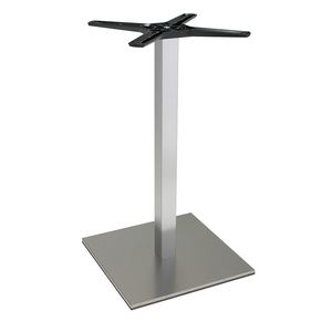 969, Square base for bar tables, in brushed steel