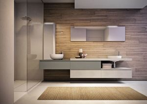 Cubik comp.15A, Spacious bathroom furniture, with two washbasins and mirrors