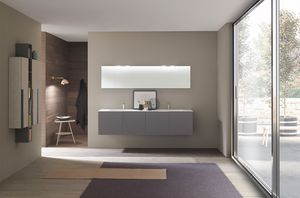 Lime 1.0 comp.04, Bathroom cabinet with double washbasin in Ocritech