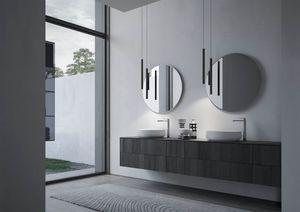 Sense comp.04, Bathroom furniture with two round ceramic washbasins