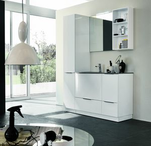BLUES BL-18, Complete glossy white bathroom furniture