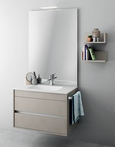 Duetto comp.08, Monobloc furniture with mirror for small bathrooms