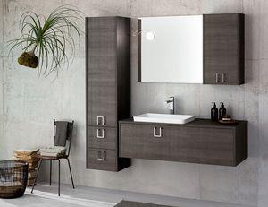 Kami comp.04, Modular bathroom cabinet in dark wood