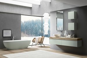 Lime 2.0 comp.19, Bathroom cabinet with round Tecnoril washbasin