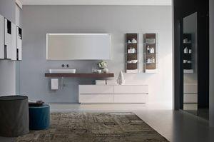Nyù comp.08, Bathroom furniture, modular, with oval ceramic washbasin