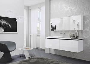 Quaderno1 2D comp.1, Bathroom furniture, lacquered, with mirrored cabinet